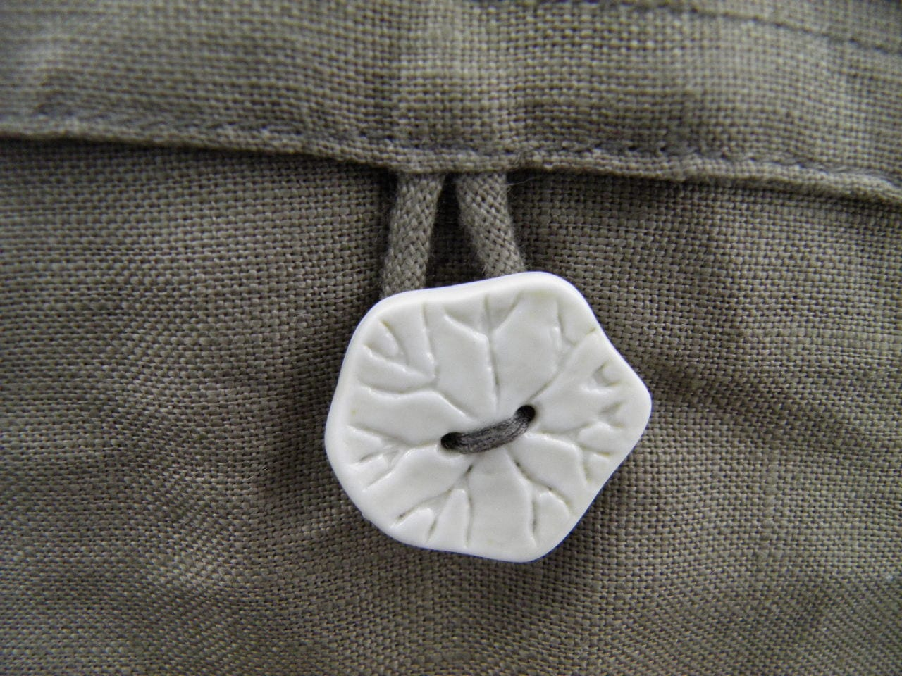 Cocoon Cushion Cover - Natural - ceramic button
