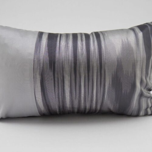 IKAT Cushion Cover - Charcoal / Silver - 45x27cm