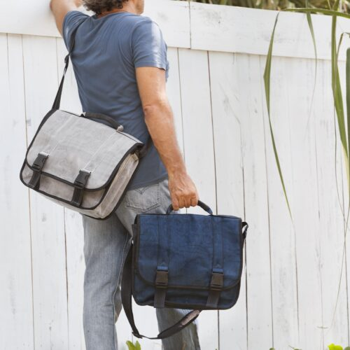 Demos - Messenger Bag - Navy Blue + Gray