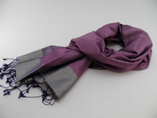 Écharpe Gala - Brocart de soie - Pourpre / Argent