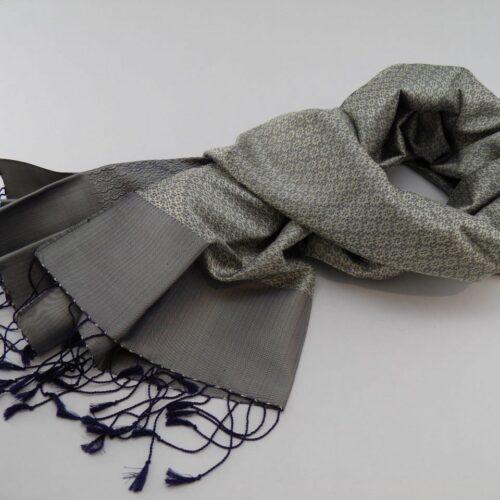 Jasmine Shawl - Silk Brocade - Silver