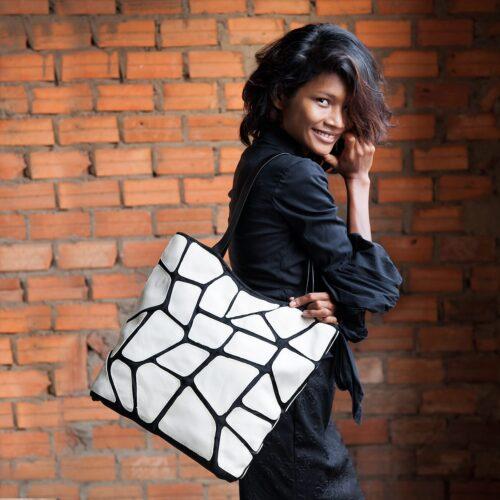 Status - Eco-friendly Leather Tote - White