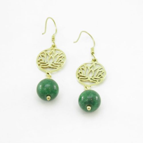 Earrings Lotus And Stone – Recycled Brass