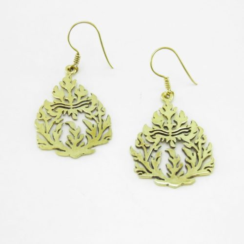 Earrings Recycled Brass – Traditional Pattern