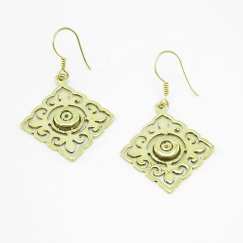 Earrings Tile And Bullet Rim – Recycled Brass