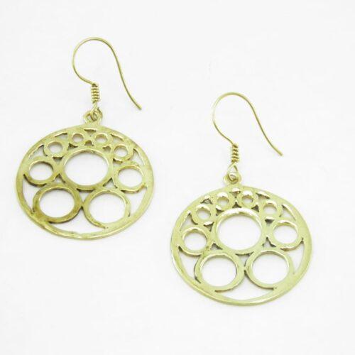 Earrings Bubbles - recycled brass