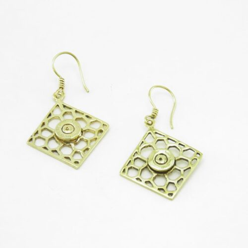 Earrings Recycled Brass – Square Bees Nest