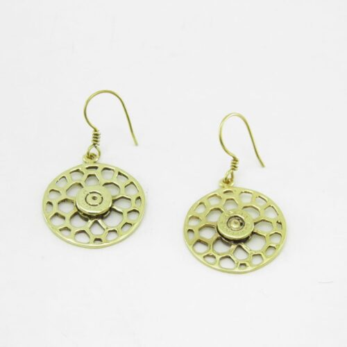 Earrings Recycled Brass – Round Bees Nest