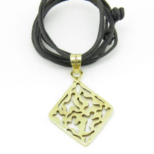 Square Water Drop Pendant Recycled Brass