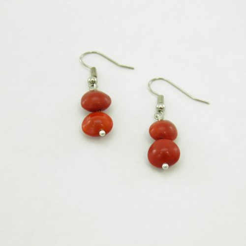 Earring Short - Natural Seeds Earrings - Red