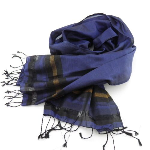 Fair Trade Essential Scarf - Striped Black-Gold - Dark Blue