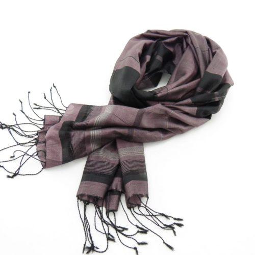 Fair Trade Silk Scarf - Black-Silver Stripes - Essential - Lilac