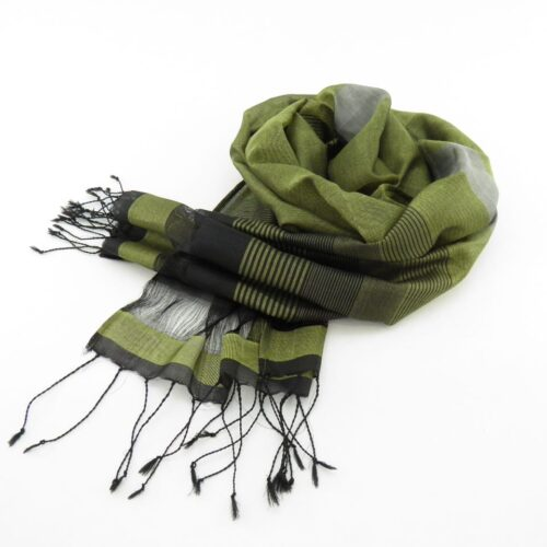 Fair Trade Silk Scarf – Black-Silver Stripes – Essential