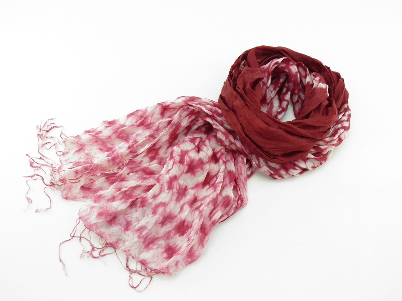 Fair Trade Organza Scarf – Faded Effect on ends - Red