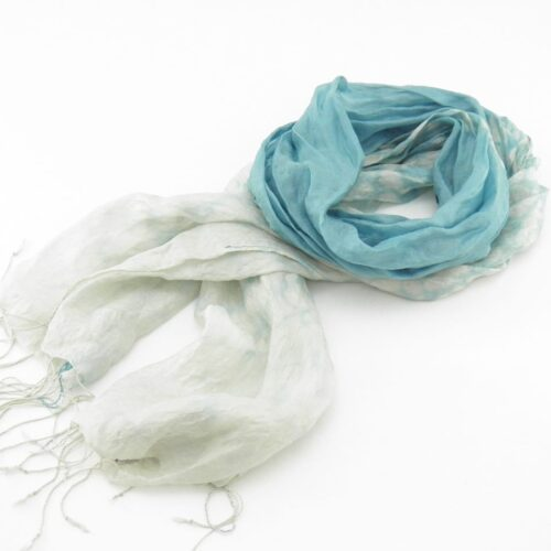 Fair Trade Organza Scarf – Faded Effect On Ends - Light Blue