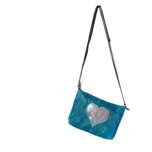 Le Lustré - Sac à bandoulière éthique - Bleu pétrole - Coeur