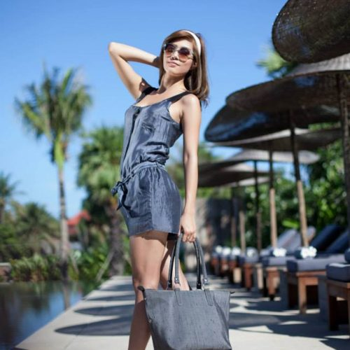 Leisure Raw Silk Handbag - Charcoal - Artisans Angkor