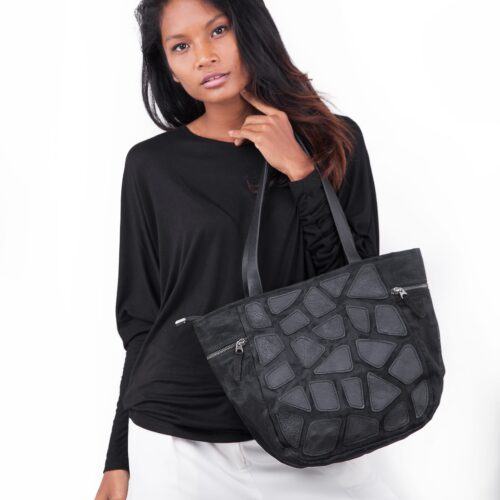 Path - Eco-friendly Leather Hand Bag - Small - Black