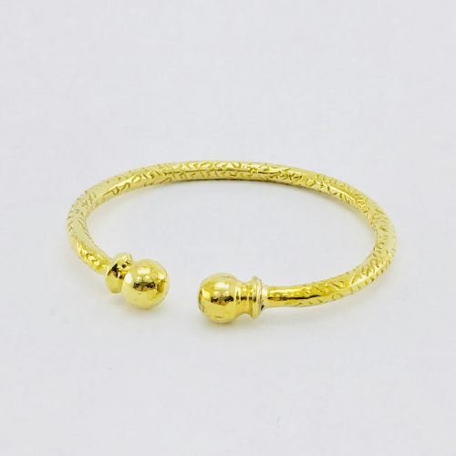Recycled Brass Hammered Bracelet – Two Balls