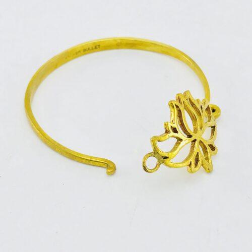 Recycled Brass Bracelet - Lotus - Open