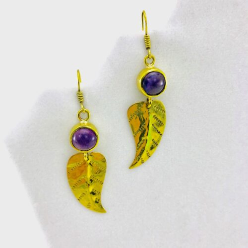 Feather Earrings And Natural Stone