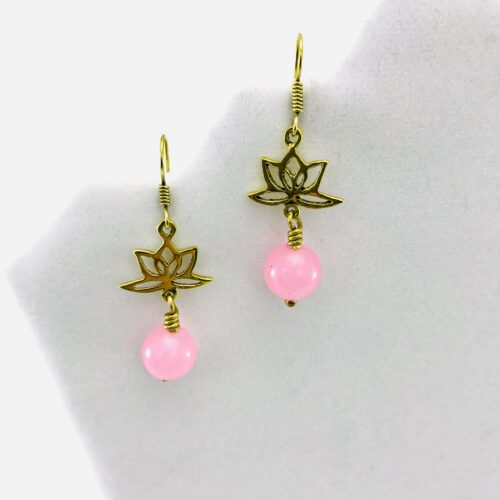 Earrings Lotus Design And Stone - Pink Agate
