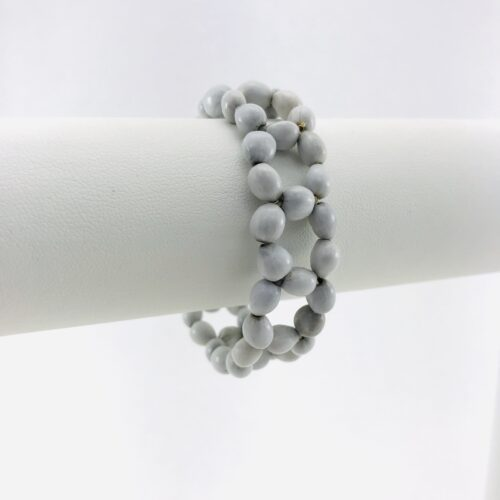 Flower - Natural Seeds Bracelet - White - Fastener