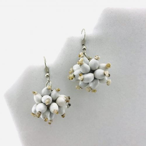 Ball Earrings – Natural Seeds Earrings - White
