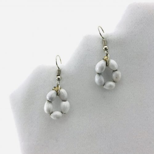 Flower Earrings - Natural Seeds Earrings - White