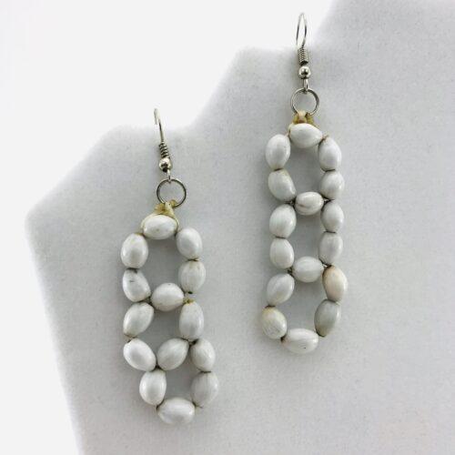 3 Flower Earrings - Natural Seeds Earrings - White