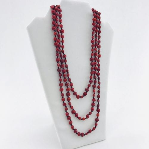 Infinity – Natural Seeds Necklace - 3 Rows - Red