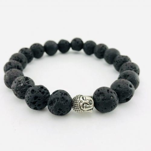 Le Bracelet Pierre de lave - Tête de bouddha