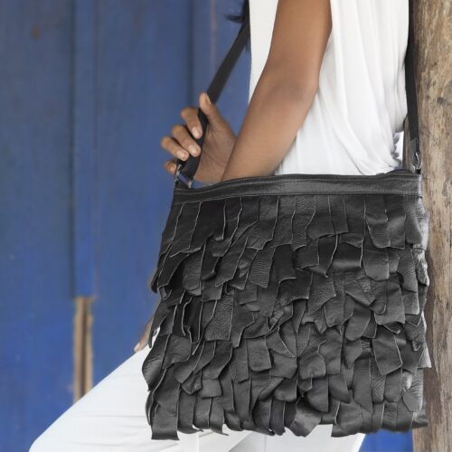 String – Eco-friendly Leather Bag – Black - Resized
