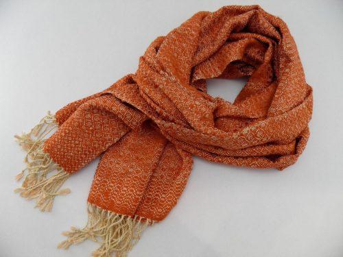 Romduol – Foulard soie sauvage – Orange