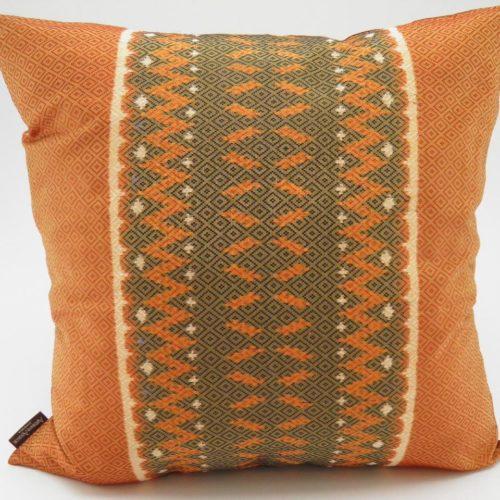 Coussin IKAT Hol Lboeuk - Orange - 45x45cm