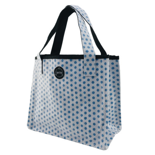 Shopper – All-purpose ethical bag - Blue dots - side