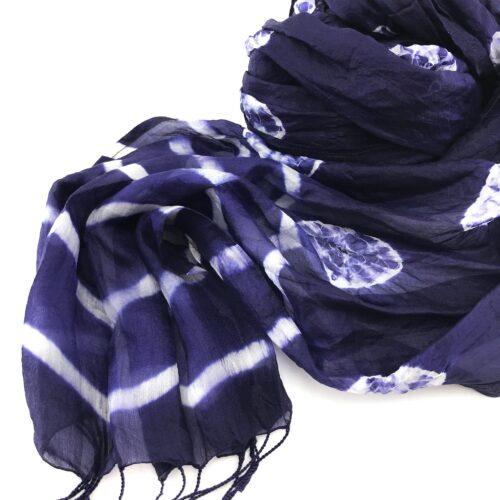 Navy Blue Scarf – Soft Organza Silk