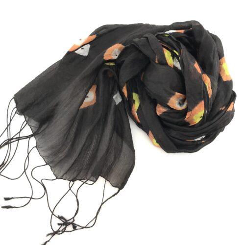 Soft Organza - Silk Scarf - Black-yellow And Orange Diamonds
