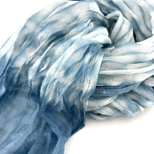 Organza Scarf – Faded Effect In The Center - Light Blue - Detail
