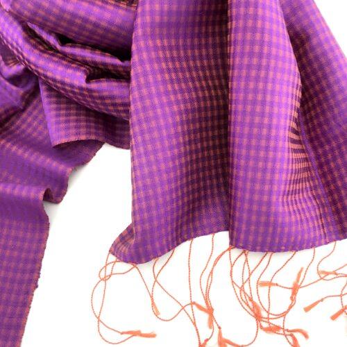 Vichy Scarf – Silk – Violet - Detail