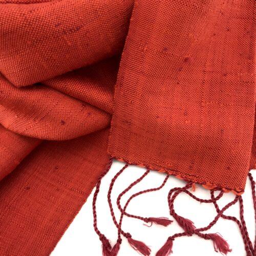 Raw Silk Scarf – Orange - Detail