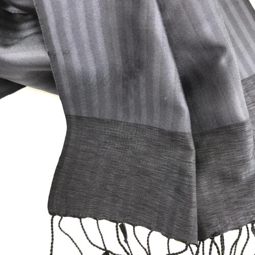 Silk Scarf – Small Elegant – Charcoal - Detail
