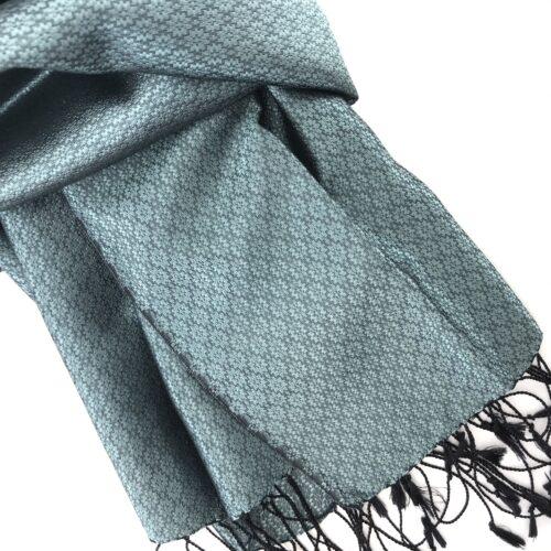 Chorebap Silk Scarf – Aqua Green - Detail