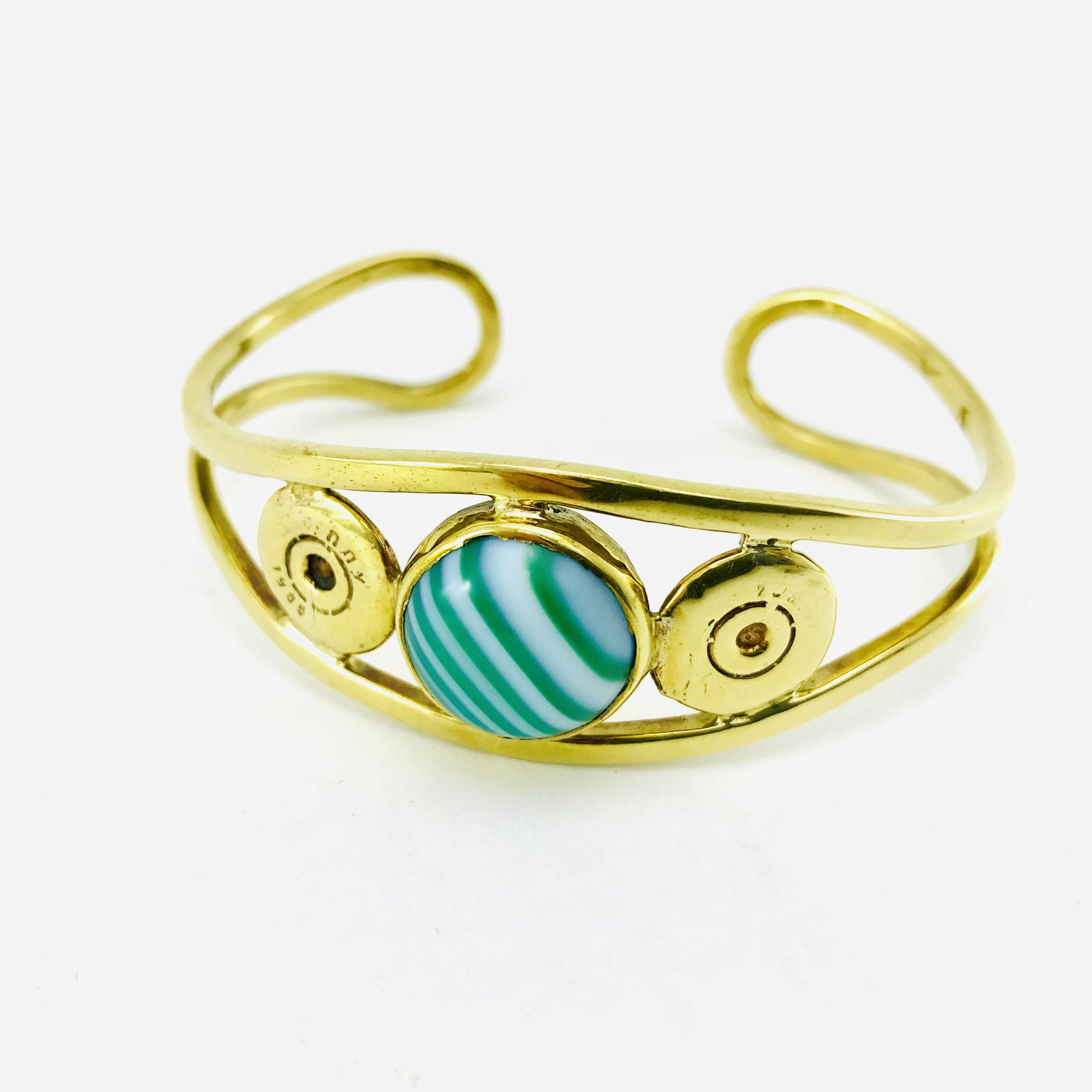 Bracelet Manchette Arrondi - Douille De Balle Recyclée - Agate Verte