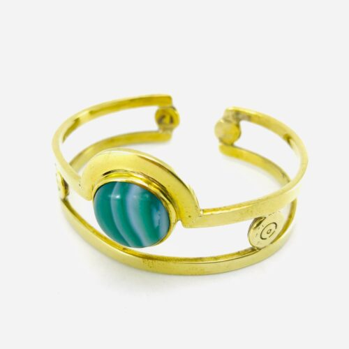 Cuff Bracelet - Recycled Bullet Shell Casing - Green Agate